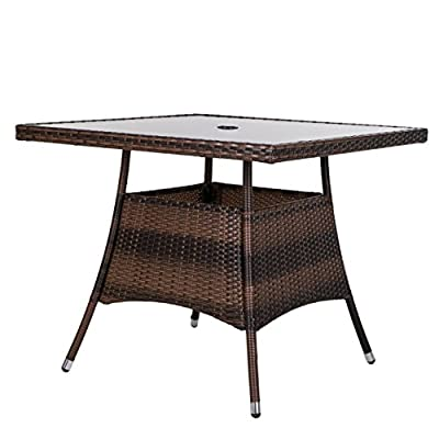 "LUCKUP 36"" x 36"" Patio Outdoor Wicker Rattan Dining Table Tempered Glass Top Umbrella Stand Square Table (Chocolate) - [Fashion Design] The new dual-support design, brown rattan, ripple pattern tempered glass top with umbrella hole, suitable for backyard pool,balcony porch, and easy to match with other garden chairs [Quality Material] 5mm thickness tempered glass with ripple pattern design, the tempered glass is sturdier and safer than ordinary glass.1.6"" umbrella hole fits most umbrellas,the rattan is made of PE material, which is softer and can not be easily broken, UV-resistant. [Excellent Performance] Sturdy: The new dual-support design, sturdier. Stability:thicker metal tube leg,max loading weight: 150 lbs;all weather resistant : PE rattan, tempered glass and thicker metal tube with coating can withstand rain, sun and wind for long-lasting lifespan. - patio-tables, patio-furniture, patio - 4149wTlIKqL. SS400  -"