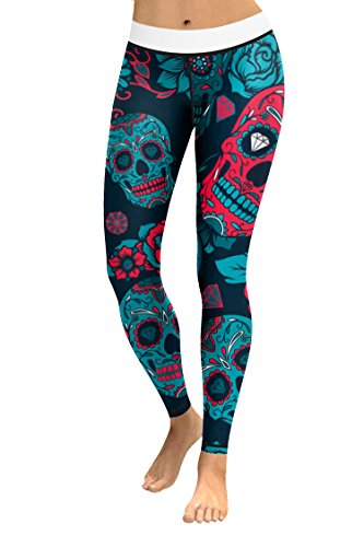 COCOLEGGINGS Ladies Sugar Skull Footless Elastic Tights Leggings Pants Blue XL]()
