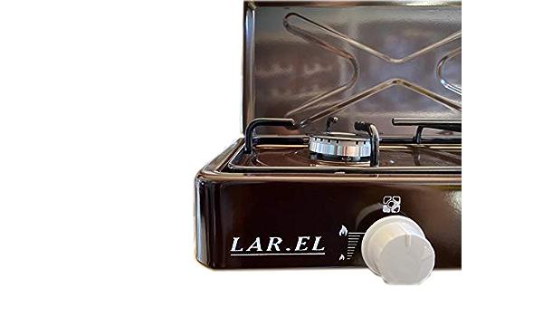 Hornillo de gas para camping MULTIGAS Larel marrón GPL, metano 2 dos quemadores.
