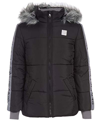 Calvin Klein Little Girls Glacial Puffer Jacket, Black Silverware, 5