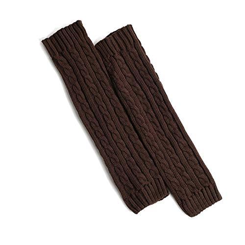 Leg Acrylic Warmers (Unisex Cable Knit Leg Warmers Knitted Crochet Long Socks (Coffee))