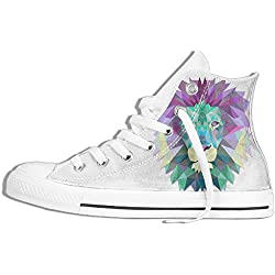 NAFQ Lion Illustration Classic Canvas Sneakers Shoes Lace Up Unisex High Top