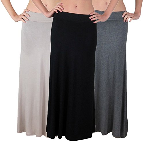 Free to Live Women's Maxi Skirts, Black/Charcoal/Mocha, Large (Pack of 3) ()