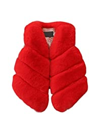 AIKSSOO Girls Faux Fur Vest Jacket Coat Kids Winter Thick Warm Outerwear Waistcoat