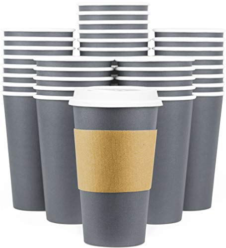 Disposable Coffee Cups With Lids - 16 oz To Go Coffee Cups (90 Set) With Sleeves and Lids Prevent Leaks. Paper Togo Hot Cup Holds Shape With Hot, Cold Drinks. Insulated to Protect Fingers from Heat!