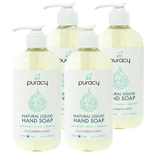 Puracy Natural Liquid Hand Soap, Cucumber & Mint, Vegan Gel Hand Wash, 12 Ounce (4-Pack)
