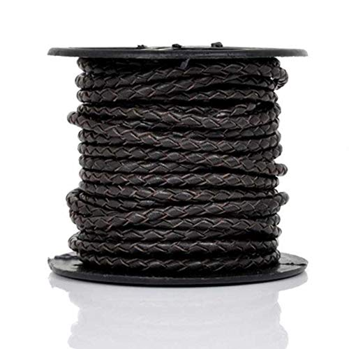 Leather Cord-3mm Braided Bolo-Natural Dark Brown-10 Meter Spool