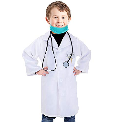 Doctor Lab Coat Kids Role Play Costume Doctor Medical Scrubs Dress Up Set for Toddlers Boys Girls White]()