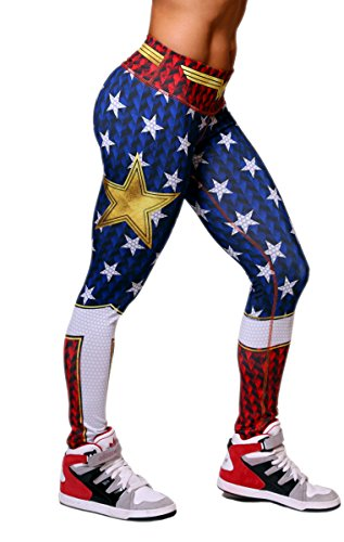 Exit 75 Wonder Woman Superhero Leggings Yoga Pants Compression Tights ()