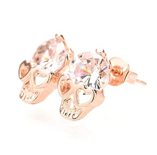 (BeeSpring Rose Gold Women Tone Crystal Diamond Skull Pierced Stud Earrings Jewelry)