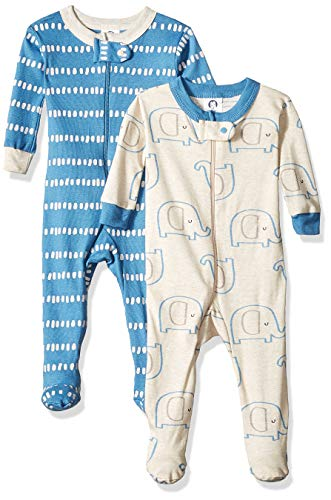 Gerber Baby Boys Organic 2 Pack Cotton Footed Unionsuit, 12 months, ELEPHANT DOTS