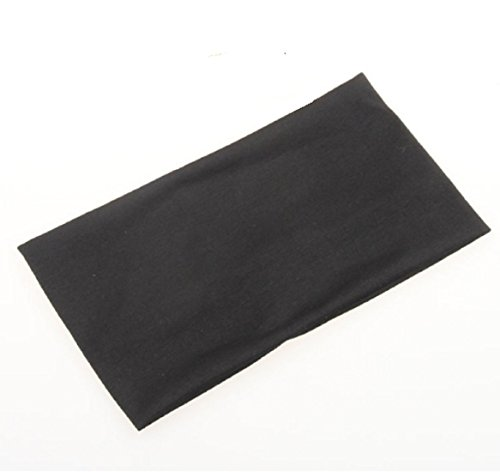 Price comparison product image Sports Headwear Yoga Headband Extra Wide 5'' Soft Stretchy Yoga Fashion Jersey Workout Headband for Yoga Softball Volleyball Basketball Cheer Dance Hair Accessories, Black Color