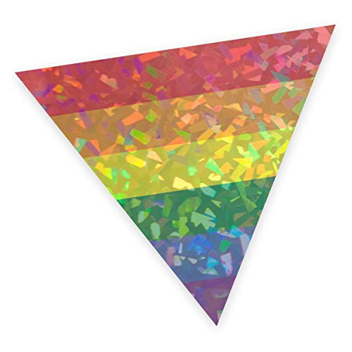 Applicable Pun Rainbow Pride Flag Triangle - Fractal Hologram Vinyl Decal 5 inch