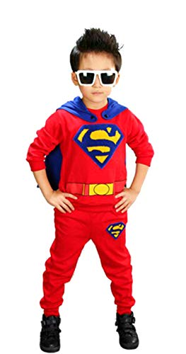 Hoodie and Pants Superhero Set (3-4 Years, RED with ()