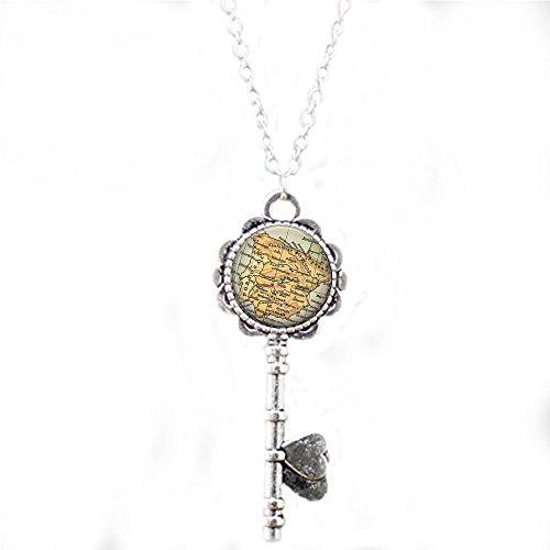 Vintage Spain Map Jewelry - Spain Pendant - Madrid Souvenir - Spanish Travel - Spain Map Key Necklace - Valencia - Barcelona - World Travel