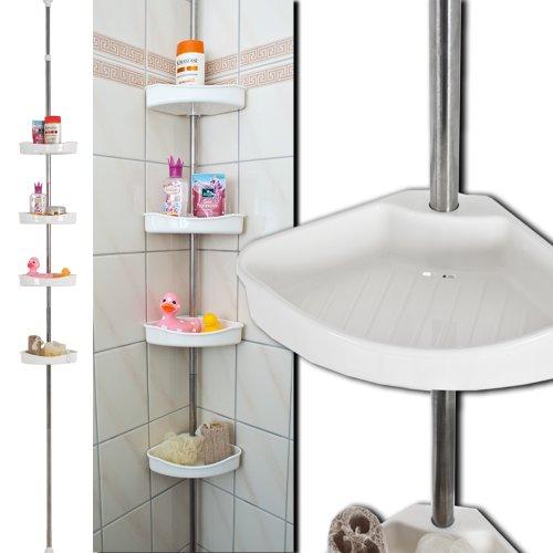 TecTake Estantería para ducha vertical porta-accesorios Estantería extensible esquinera para baño