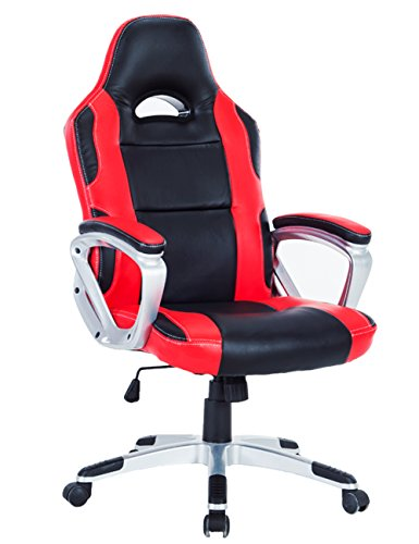 Contoured Foam Ergonomic Leather Recliner - Killbee Ergonomic Swivel Gaming Chair Large Size PVC Leather Executive Office Chair with Headrest and Lumbar Support (Red 7)