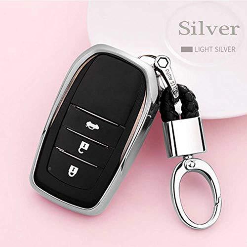 (Auto Key case TPU Soft Cover case for Toyota Highlander Land Cruiser Riez RAV4 Camry Prado Crown Corolla Handmade Waven Keychain Color Name Silver-Metal snap)