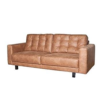 Landhaus Sofa 2,5 Sitzer 3 Sitzer REGINA Kunstleder Lounge Couch Garnitur  Cognac (213