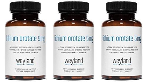 Weyland: Lithium Orotate - 5mg of Elemental Lithium (as Lithium Orotate) per Vegetarian Capsule (3 Bottles)