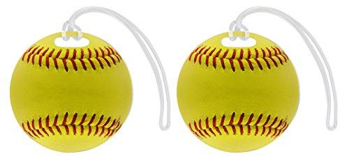 (Softball Bag Tag Softball Luggage Tag Softball Equipment Gifts Softball Travel Gift 2-pack Aluminum Circle Luggage Tags)