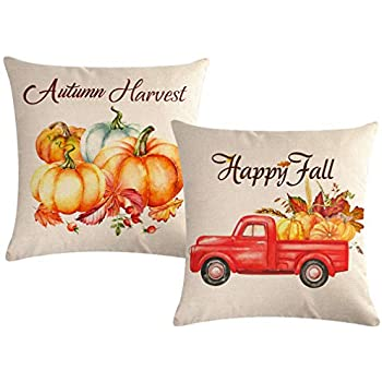 ULOVE LOVE YOURSELF 2pack Happy Fall Throw Pillow Covers with Pumpkin&Red Truck Pattern Autumn Harvest Cushion Covers Home Decorative Pillowcase 18 x 18 Inch