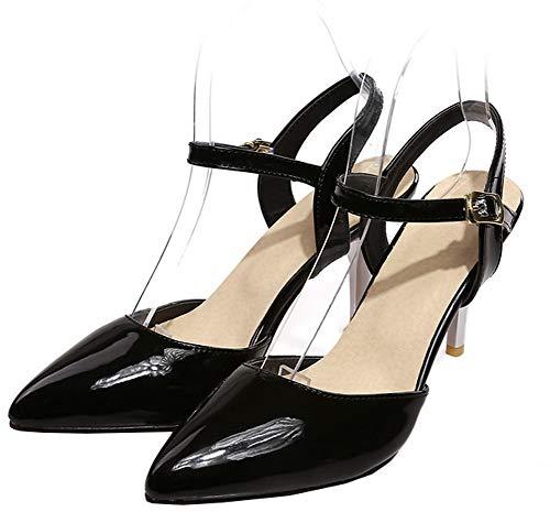 Fibbia Flats Ballet Tacco FBUIDD010563 Alto AllhqFashion Donna Nero Puro SIYHHq