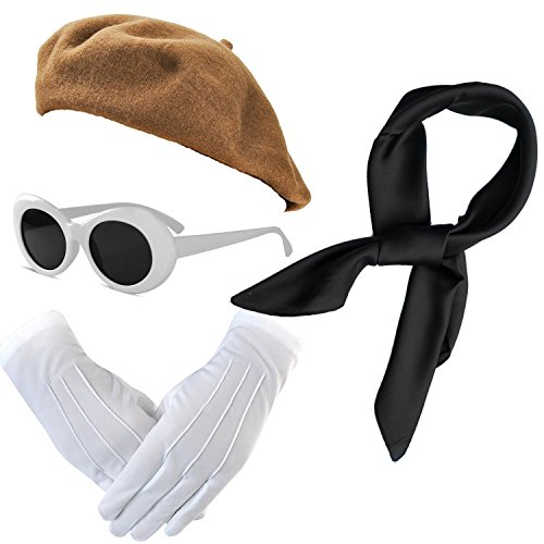 French Themed Costume Accessories Set - Beret Hat,Sheer Chiffon Scarf,Deluxe Theatrical Gloves,Retro Oval Clout Goggles Bold Sunglasses for Womens & Girls (OneSize, Brown) -