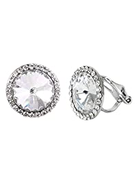 EleQueen Women's Silver-tone Round Bridal Clip-on Stud Earrings Clear Adorned with Swarovski® Crystals