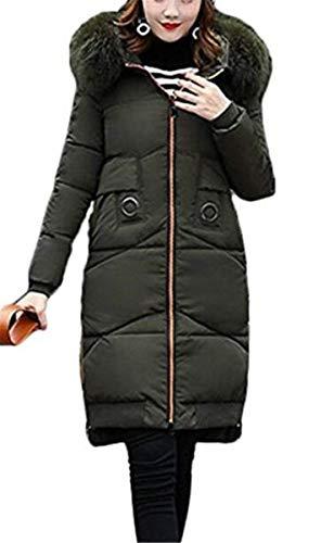 Estilo Lunga Con Armgrün Cappuccio Tasche Especial Trench Trapuntata Giacca Puro Moda Colore Donna Cerniera Manica Anteriori Piumino Invernali wURZzR4