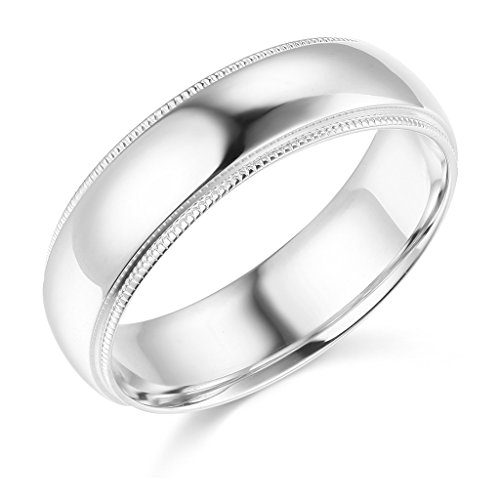 Wellingsale Mens 14k White Gold Solid 6mm CLASSIC FIT Milgrain Traditional Wedding Band Ring - Size 10 -