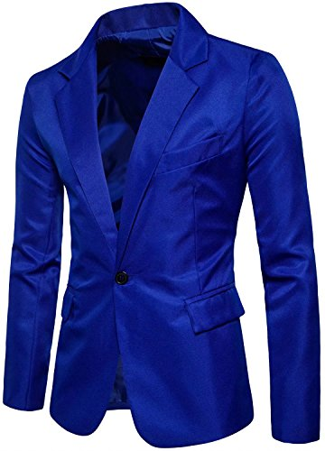 (Men's Long Sleeves Peak Lapel Collar One Button Slim Sport Coat Blazer, Royal Blue, L/42R = Tag)