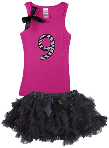 Bubblegum Divas Big Girls 9th Birthday Hot Pink Zebra Pettiskirt Outfit 9-10 by Bubblegum Divas