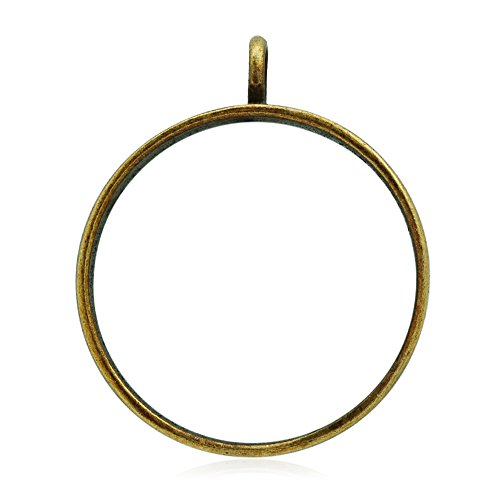 10PCS 32mm Round Open Back Bezel Pendant, Open Back for Resin, Polymer, etc. Open Back Frame with 1 Loop, Antique Bronze
