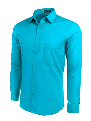 (Marquis Slim Fit Dress Shirt - Carribean Blue,Large 16-16.5 Neck 36/37 Sleeve)