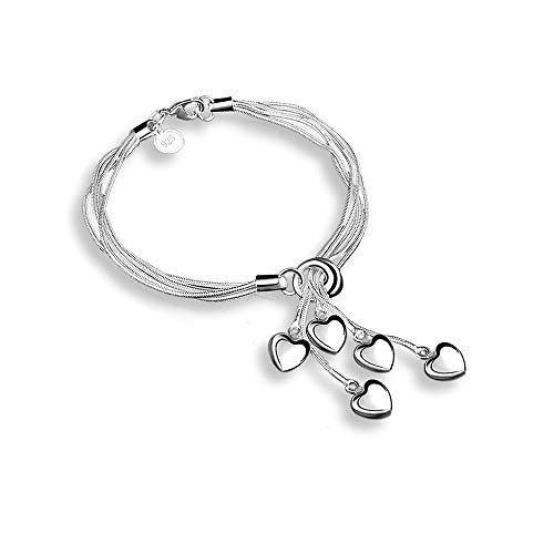 Pixel Jewelry 1985 SeaISee 925 Sterling Silver Five-Line Chain Five-Love Heart Bracelet Bangle (SZRUY01)