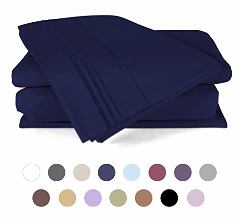 4 Piece Bed Sheets Set (California King -Royal Blue) 1 Flat Sheet 1 Fitted Sheet and 2 Pillow Cases - Hotel Quality Brushed Velvety Microfiber - Luxurious - Durable - by DUCK & GOOSE (Flat Blue King Sheet)