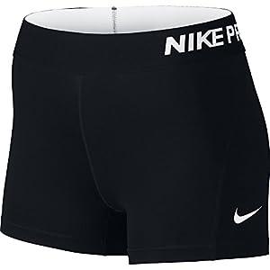 """NIKE Women's Pro 3"""" Training Shorts, Black/White, Large"""