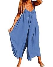 GAGA Womens Casual Spaghetti Strap Plus Size Jumpsuits Stripe Print Wide Leg Pants