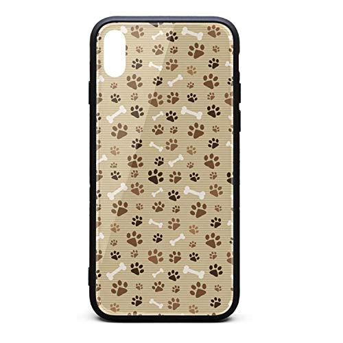 - Custom Phone Case for iPhone X Dog Paw Prints Striped Brown Bone Rubber Frame Tempered Glass Covers Protective Shock-Absorbing Skid-Proof Never Fade Mobile Cases Printted