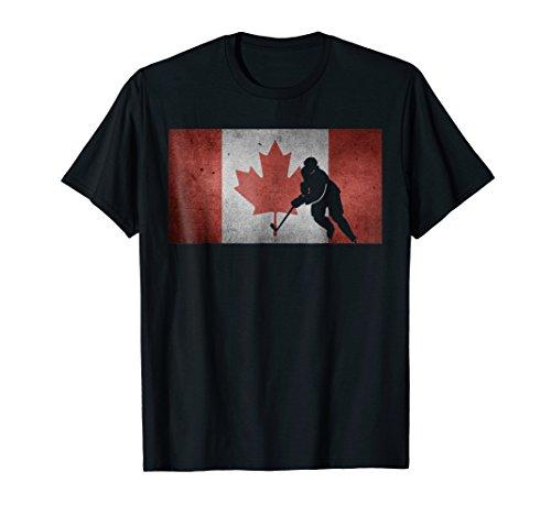Canadian Hockey Player Shirt Canada Flag Ice Skating -