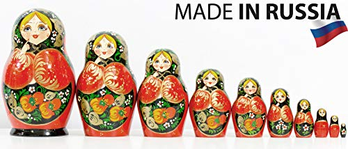 Russian Nesting Doll - Kirov - VJATKA - Hand Painted in Russia - Big Size - Wooden Decoration Gift Doll - Matryoshka Babushka (Style C, 8.25``(10 Dolls in 1)) by craftsfromrussia (Image #3)