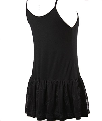 Ruffled Lace Bottom (Eikosi Women's Cami Shirt Top Extender with Ruffled Ivy Lace Bottom Black)