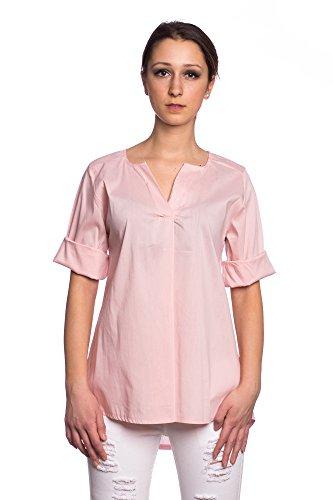 Abbino 17361 Blusas Tops para Mujeres - Hecho en ITALIA - 3 Colores - Entretiempo Primavera Verano Otoño Mujeres Femeninas Elegantes Camisas Casual Vintage Fiesta Fashion Rebajas - Talla única Rosa