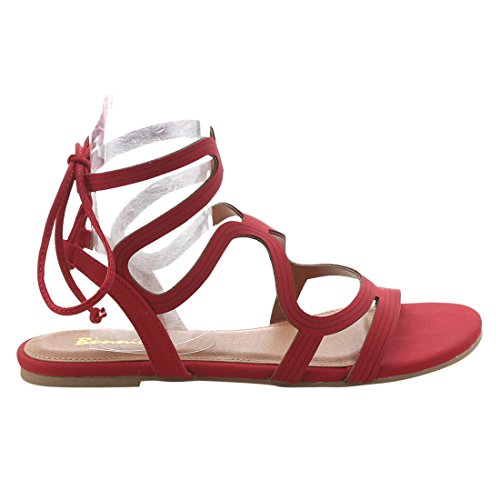 Cut Out Womens Calf BONNIBEL Backless Style Red Sandals Gladiator FK55 xqPwX5XRI