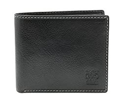 CAPPIANO Black Mens Vegetable Tanned Leather Traditional 2 Section 8 Credit Card Billfold Wallet