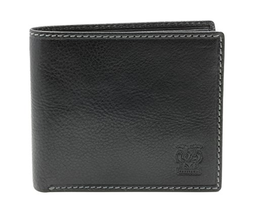 CAPPIANO Mens Leather Traditional 2 Section 8 Credit Card Billfold Wallet - Black
