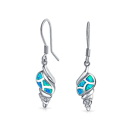 Nautical Blue Created Opal Tropical Beach Seashell Dangle Earrings For Women For Teen Fish Wire Hook 925 Sterling Silver