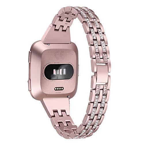 bayite Slim Bling Bands Compatible with Fitbit Versa/Versa 2/Versa Lite Smartwatch, Dressy Metal Bracelet Jewelry Wristband Women, Rose Gold