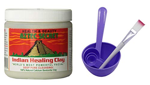 Aztec Secret Indian Healing Clay & 4 in 1 Cosmetic DIY Facial Mask Bowl Brush Stick Measure Spoon (1 Lb, Purple)